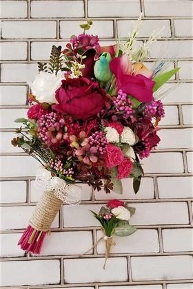 Yapay Çiçek Deposu - Atropes Kuru Çiçekler Şakayık Karanfil Şöleni Gelin Buketi 2li Set