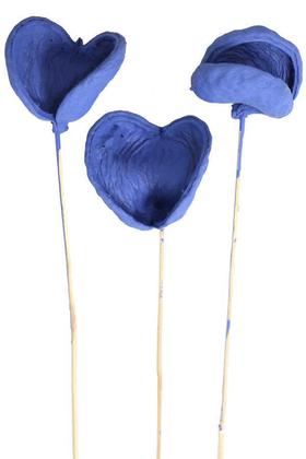 Yapay Çiçek Deposu - 3lü Tropic Bitki Badam on Stem 45 cm Saks Mavi