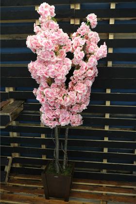 Yapay Çiçek Deposu - Bahar Dalı Ağacı Kabarık Çiçekli 3 Gövdeli 150cm Tırtıklı Model Pembe