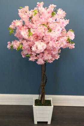 Yapay Çiçek Deposu - Bahar Dalı Çiçekli Ağaç Top Modeli 130 cm Pembe
