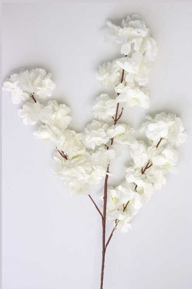 Yapay Çiçek Deposu - Bahar Dalı Dekoratif Yapay Çiçek 100cm Beyaz