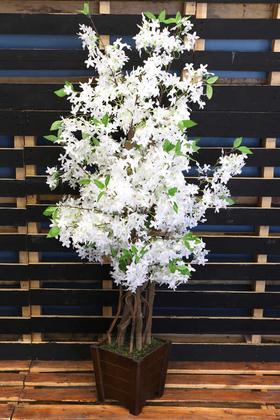 Yapay Çiçek Deposu - Bahar Yasemin Ağacı 3 Gövdeli 140 cm Beyaz