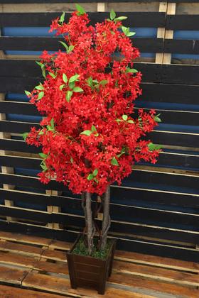 Yapay Çiçek Deposu - Bahar Yasemin Ağacı 3 Gövdeli 140 cm Kırmızı