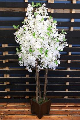 Yapay Çiçek Deposu - Bahar Yasemin Ağacı 3 Gövdeli 150 cm Beyaz