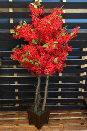 Yapay Çiçek Deposu - Bahar Yasemin Ağacı 3 Gövdeli 150 cm Kırmızı