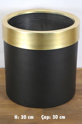 Yapay Çiçek Deposu - Dekoratif Metal Saksı Siyah Altın 30 cm