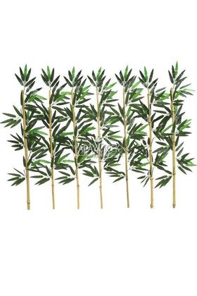 Yapay Çiçek Deposu - Kumaş Yapraklı Doğal Bambu 80-95 cm (7 Adet)