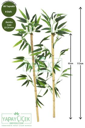 Yapay Çiçek Deposu - 115 cm Yapay 8 Dal Yapraklı Doğal Bambu Tip13