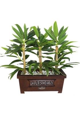 Yapay Çiçek Deposu - Bambu Premium Yaprak Tanzimi Ahşap Dekoratif Saksılı 45 cm