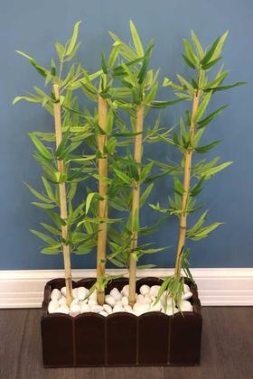 Yapay Çiçek Deposu - Yapay Bambu Seperatör Kahverengi Saksılı (20x50x105cm)