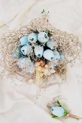 Yapay Çiçek Deposu - Bebe Mavi Islak Lale Kuru Çiçek Şöleni 2li Set