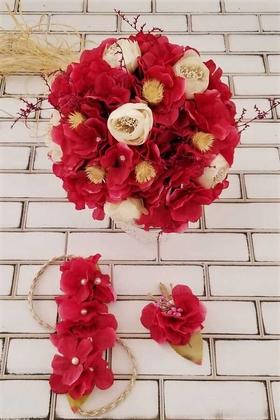 Yapay Çiçek Deposu - Belen Fuşya Krem Ortanca İpek Güller Çilek Şöleni Gelin Buketi 3lü Set