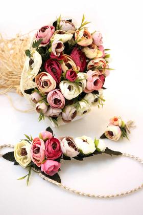 Yapay Çiçek Deposu - Gelin Buketi Belkıs 3lü Set (Gelin Buketi, Gelin Tacı, Yaka Çiçeği)