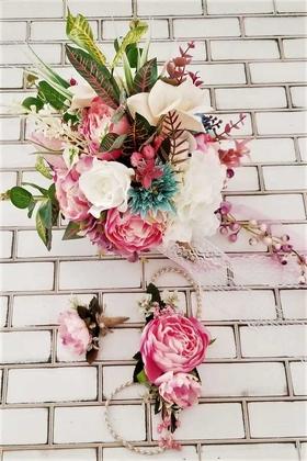 Yapay Çiçek Deposu - Bellanca Pembe Beyaz Ortanca Lilyum Şakayık Güller Karnavalı Gelin Buketi 3lü Set