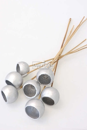 Yapay Çiçek Deposu - Dekoratif Bell Cup Orta Boy 7li Doğal Kabak Silver Gümüş Renk