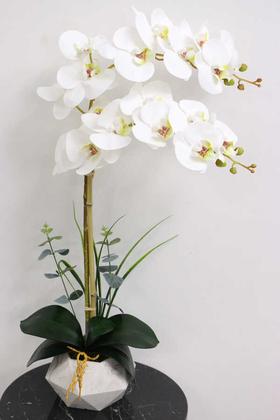 Yapay Çiçek Deposu - Beton Geometrik Saksıda 2li Yapay Islak Orkide Beyaz