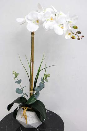 Yapay Çiçek Deposu - Beton Geometrik Saksıda Tekli Yapay Islak Orkide Beyaz