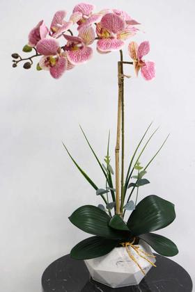 Yapay Çiçek Deposu - Beton Geometrik Saksıda Tekli Yapay Islak Orkide Fuşya Benekli