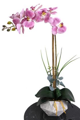 Yapay Çiçek Deposu - Beton Geometrik Saksıda Tekli Yapay Islak Orkide Mor Benekli