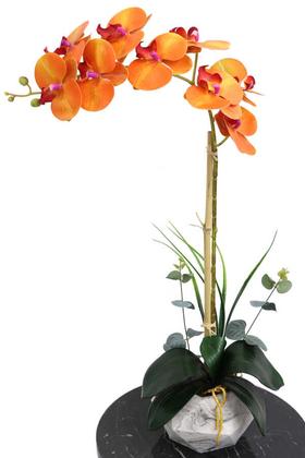 Yapay Çiçek Deposu - Beton Geometrik Saksıda Tekli Yapay Islak Orkide Orange