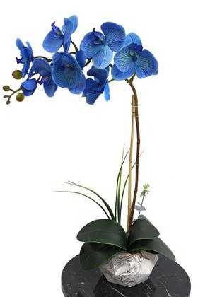Yapay Çiçek Deposu - Beton Geometrik Saksıda Yapay Exclusive Islak Orkide 70 cm Mavi
