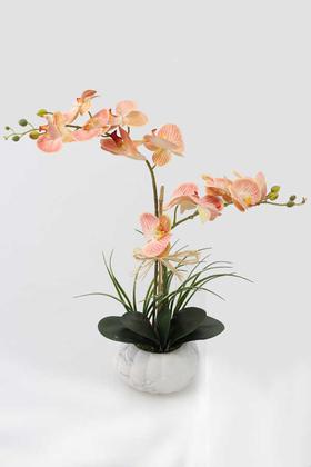 Yapay Çiçek Deposu - Beton Kabak Saksıda 2li Islak Orkide Tanzimi Kavuniçi