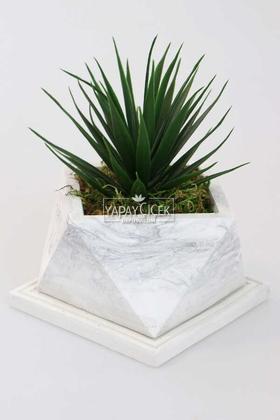 Yapay Çiçek Deposu - Mermer Görünümlü Beton Saksıda Dev Succulent Sukulent 20cm