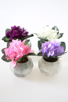 Yapay Çiçek Deposu - Beton Saksıda 4lü Menekşe Set