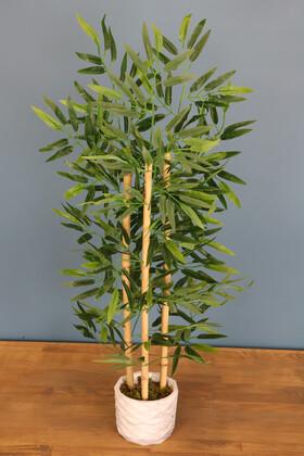 Yapay Çiçek Deposu - Beton Saksıda Bambu Ağacı 100 cm 3 Gövdeli