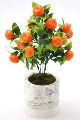 Yapay Çiçek Deposu - Beton Saksıda Mini Mandalina Ağacı 32 cm