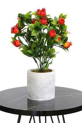 Yapay Çiçek Deposu - Beton Saksıda Mini Nar Ağacı 32 cm