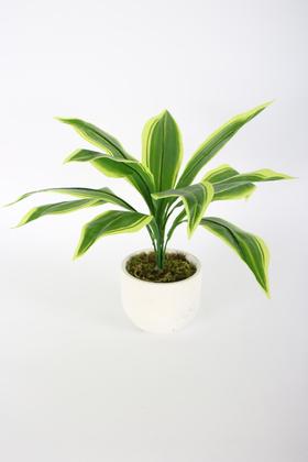 Yapay Çiçek Deposu - Beton Saksıda Uzun Yapraklı Yapay Bitki 42 cm Model-10
