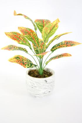 Yapay Çiçek Deposu - Beton Saksıda Uzun Yapraklı Yapay Bitki 42 cm Model-7