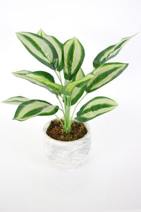 Yapay Çiçek Deposu - Beton Saksıda Uzun Yapraklı Yapay Bitki 42 cm Model-8