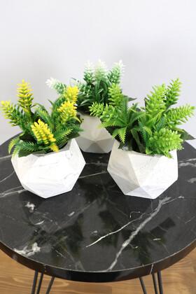 Beton Saksıda Yapay Bitki 3lü Set Model 1 - Thumbnail