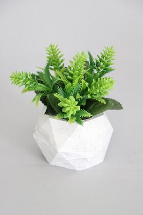 Yapay Çiçek Deposu - Beton Saksıda Yapay Yaban Lavantası Yeşil