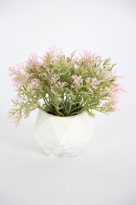 Yapay Çiçek Deposu - Beton Saksıda Yapay Coşmuş Bitki Açık Pembe