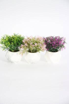 Yapay Çiçek Deposu - Beton Saksıda Yapay Coşmuş Bitki 3lü set