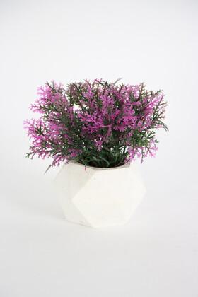 Yapay Çiçek Deposu - Beton Saksıda Yapay Coşmuş Bitki Fuşya