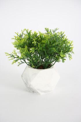 Yapay Çiçek Deposu - Beton Saksıda Yapay Coşmuş Bitki Yeşil