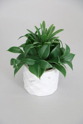 Yapay Çiçek Deposu - Mini Beton Saksıda Yapay Defne Çiçeği Yeşil