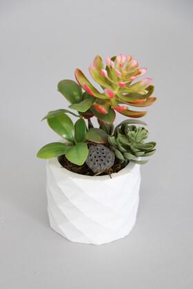 Yapay Çiçek Deposu - Mini Beton Saksıda Lotuslu Succulent Kırmızılı Model