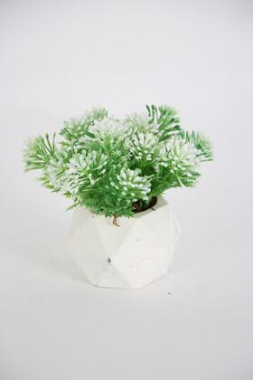 Yapay Çiçek Deposu - Beton Saksıda Yapay Pıtırcık Bitki Yeşil-Beyaz