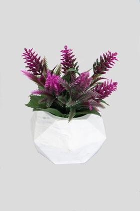 Yapay Çiçek Deposu - Beton Saksıda Yapay Yaban Lavantası Fuşya