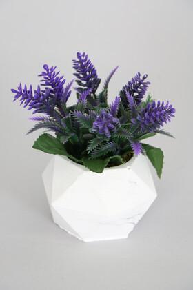 Yapay Çiçek Deposu - Beton Saksıda Yapay Yaban Lavantası Mor