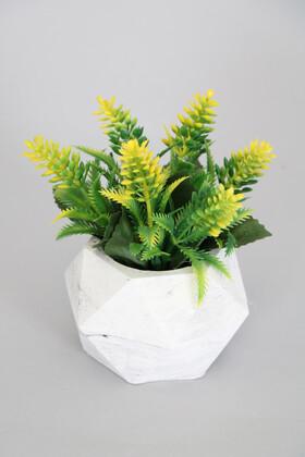 Yapay Çiçek Deposu - Beton Saksıda Yapay Yaban Lavantası Yeşil-Sarı