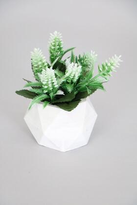 Yapay Çiçek Deposu - Beton Saksıda Yapay Yaban Lavantası Yeşil-Beyaz