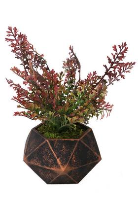 Yapay Çiçek Deposu - Handmade Beton Saksıda Yapay Hazan Çiçeği Geometrik Bakır Saksıda 30cm