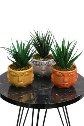 Yapay Çiçek Deposu - Yapay Sukulent Kaktüs Beton Buda Saksıda 3lü Set (Altın-Gümüş-Bakır) Succulent