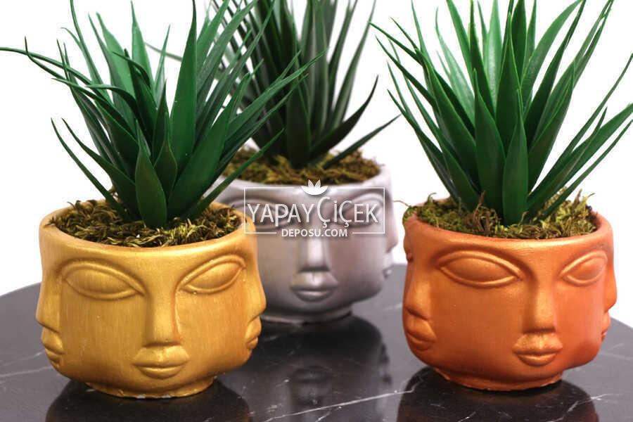Yapay Sukulent Kaktüs Beton Buda Saksıda 3lü Set (Altın-Gümüş-Bakır) Succulent